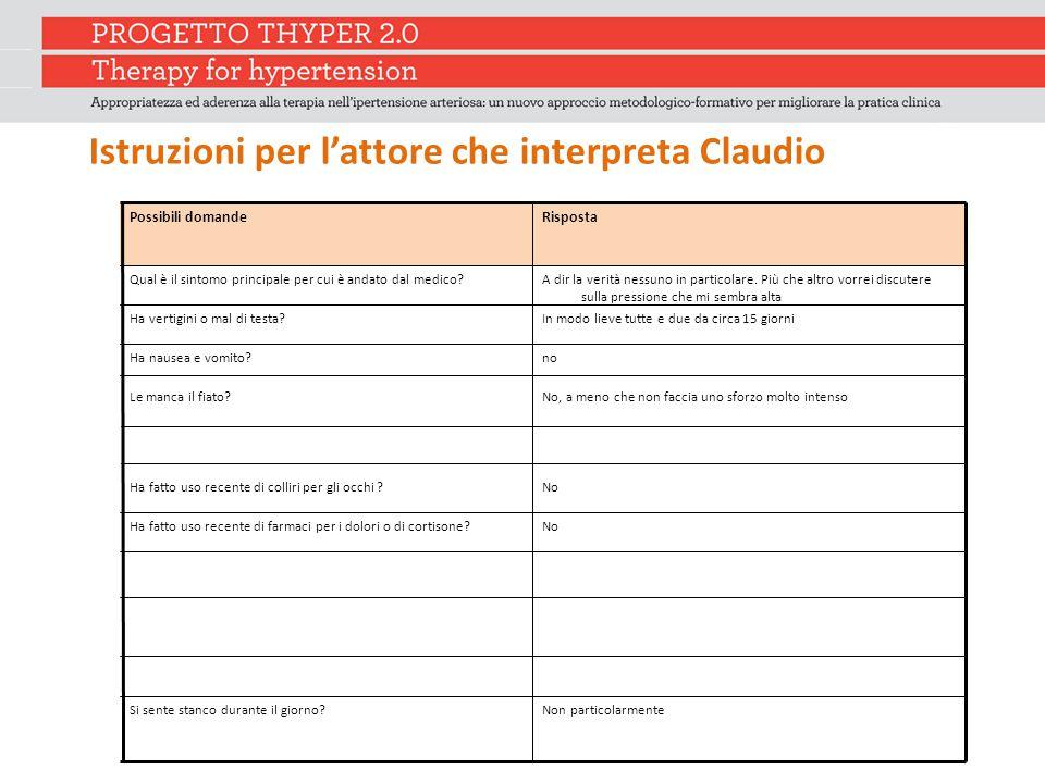Istruzioni per l'attore che interpreta Claudio Possibili domandeRisposta Qual è il sintomo principale per cui è andato dal medico?A dir la verità ness