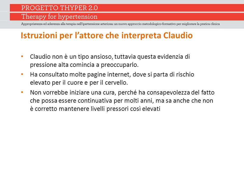 Istruzioni per l'attore che interpreta Claudio Claudio non è un tipo ansioso, tuttavia questa evidenzia di pressione alta comincia a preoccuparlo. Ha