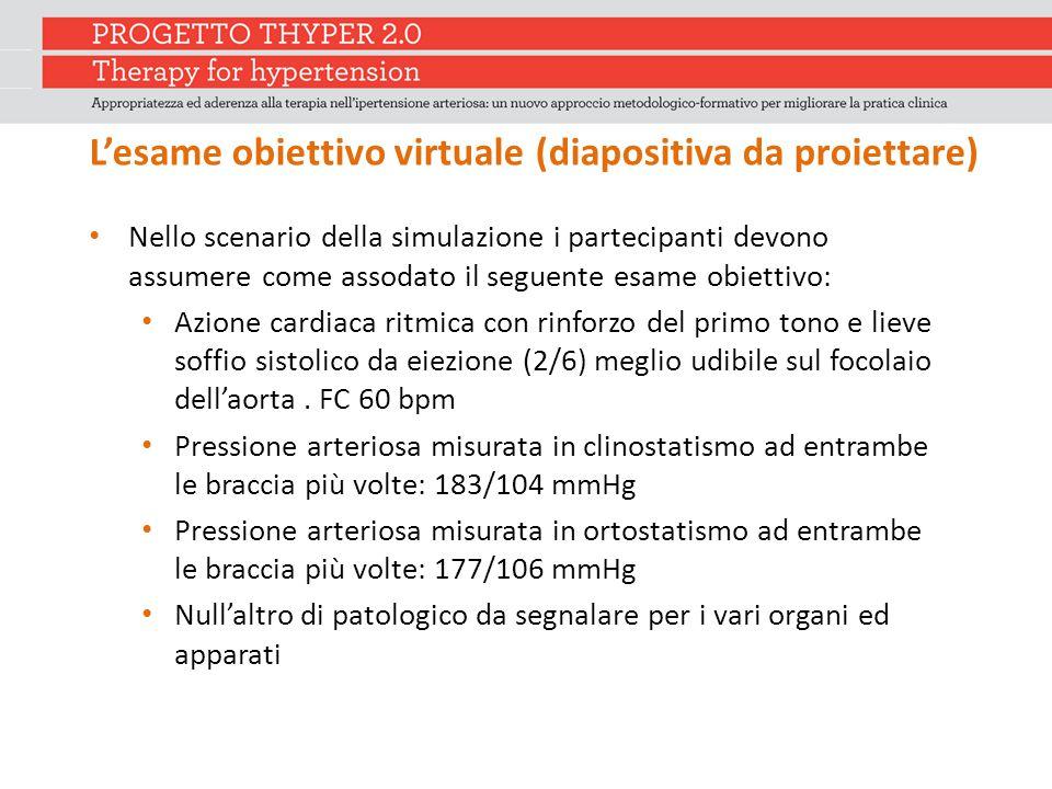 L'esame obiettivo virtuale (diapositiva da proiettare) Nello scenario della simulazione i partecipanti devono assumere come assodato il seguente esame