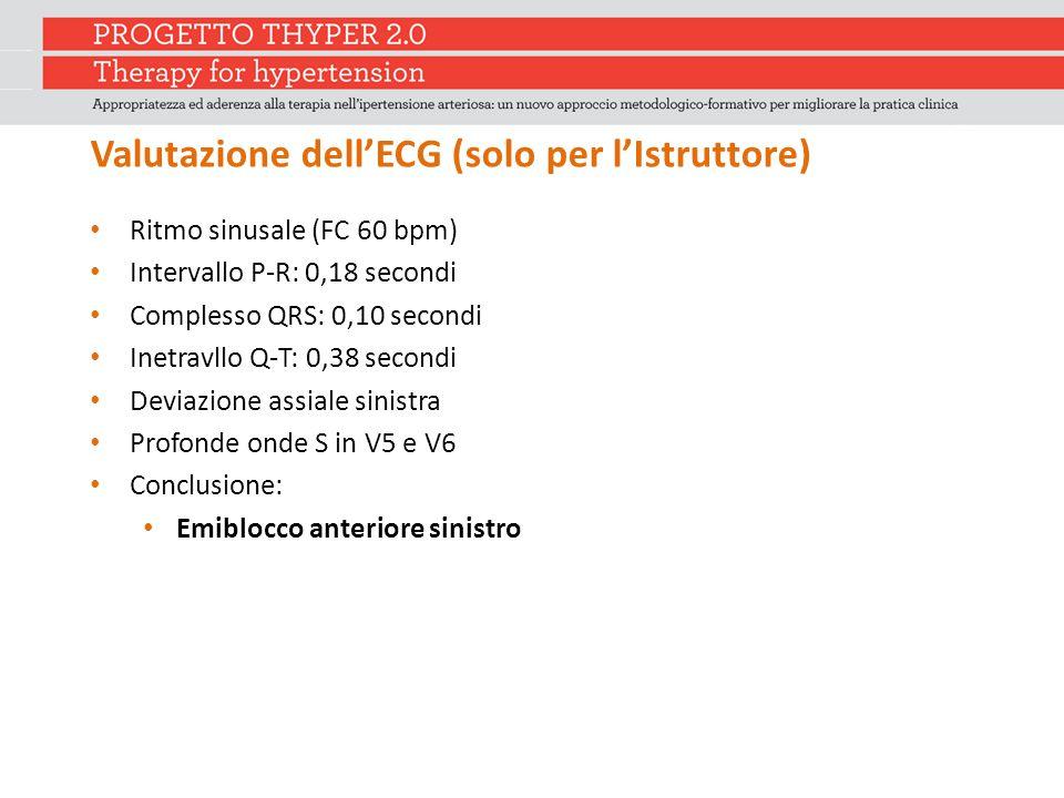 Valutazione dell'ECG (solo per l'Istruttore) Ritmo sinusale (FC 60 bpm) Intervallo P-R: 0,18 secondi Complesso QRS: 0,10 secondi Inetravllo Q-T: 0,38