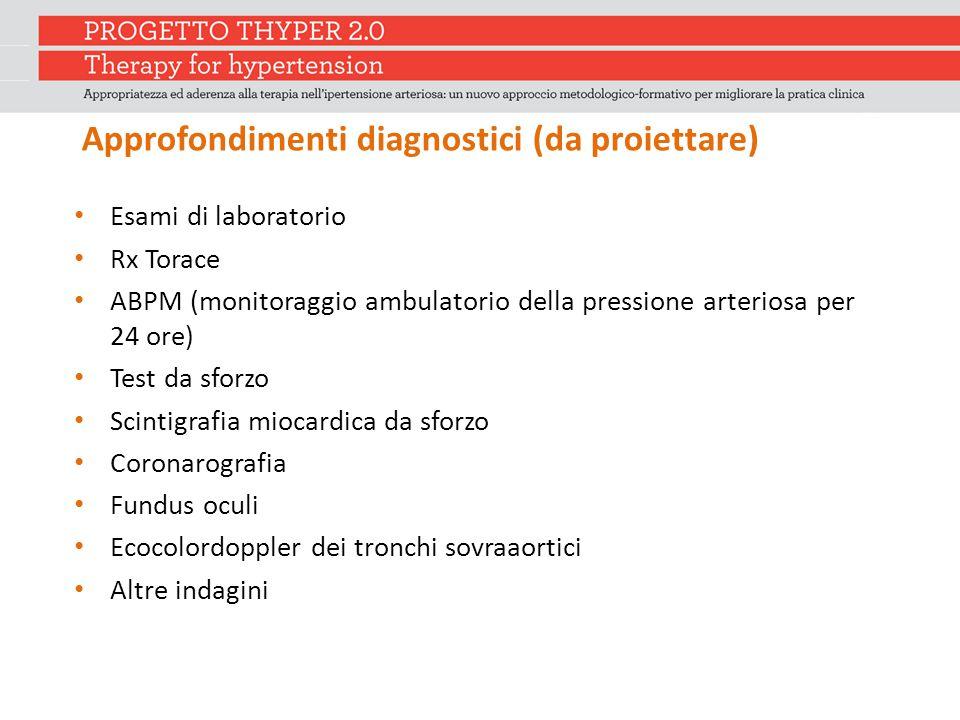 Approfondimenti diagnostici (da proiettare) Esami di laboratorio Rx Torace ABPM (monitoraggio ambulatorio della pressione arteriosa per 24 ore) Test d