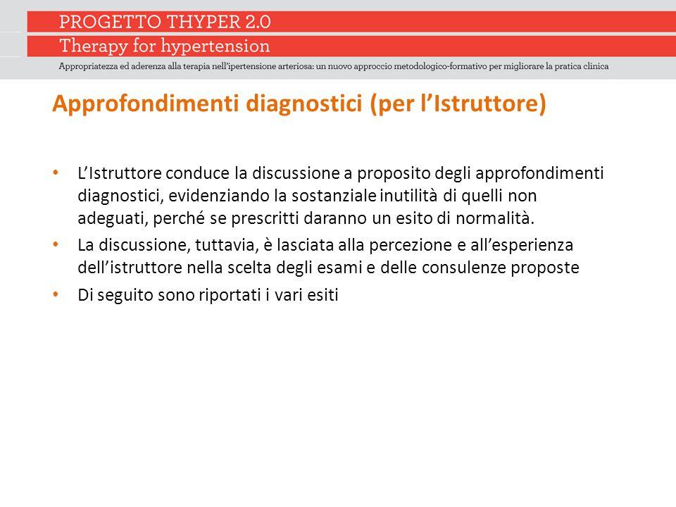 Approfondimenti diagnostici (per l'Istruttore) L'Istruttore conduce la discussione a proposito degli approfondimenti diagnostici, evidenziando la sost