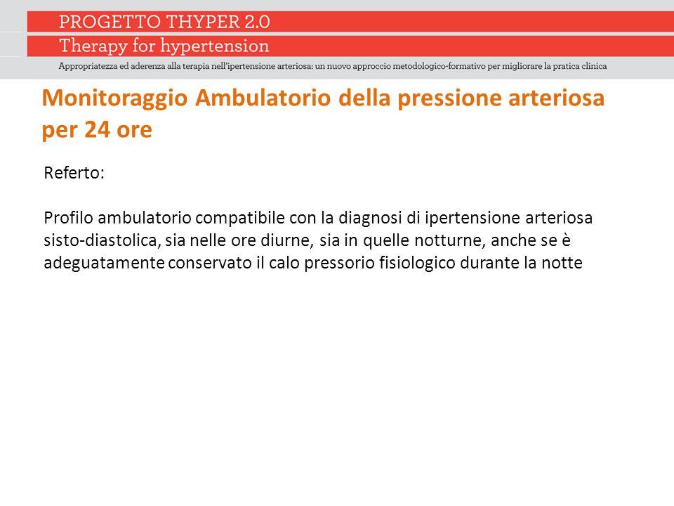 Referto: Profilo ambulatorio compatibile con la diagnosi di ipertensione arteriosa sisto-diastolica, sia nelle ore diurne, sia in quelle notturne, anc