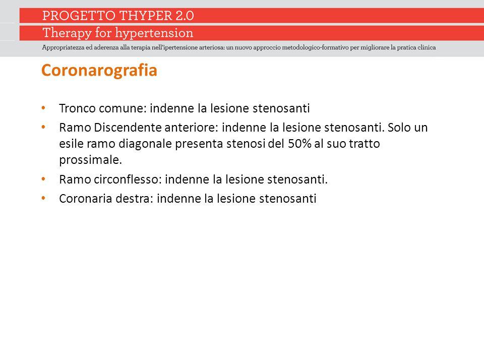 Coronarografia Tronco comune: indenne la lesione stenosanti Ramo Discendente anteriore: indenne la lesione stenosanti. Solo un esile ramo diagonale pr