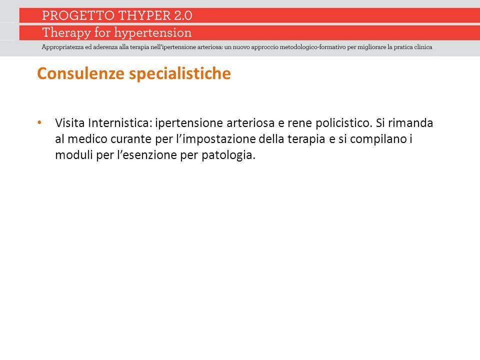 Consulenze specialistiche Visita Internistica: ipertensione arteriosa e rene policistico. Si rimanda al medico curante per l'impostazione della terapi