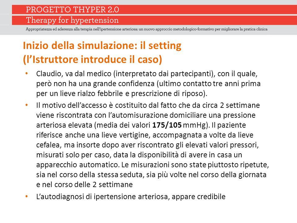 Inizio della simulazione: il setting (l'Istruttore introduce il caso) Claudio, va dal medico (interpretato dai partecipanti), con il quale, però non h