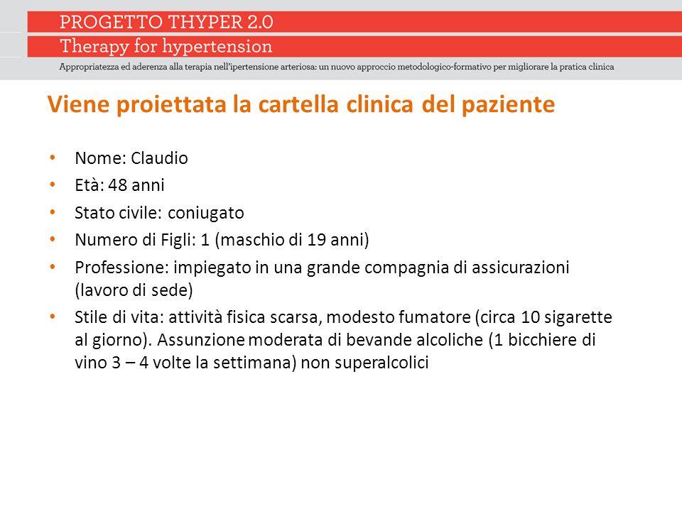 Viene proiettata la cartella clinica del paziente Nome: Claudio Età: 48 anni Stato civile: coniugato Numero di Figli: 1 (maschio di 19 anni) Professio