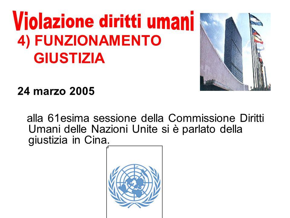 4) FUNZIONAMENTO GIUSTIZIA 24 marzo 2005 alla 61esima sessione della Commissione Diritti Umani delle Nazioni Unite si è parlato della giustizia in Cina.