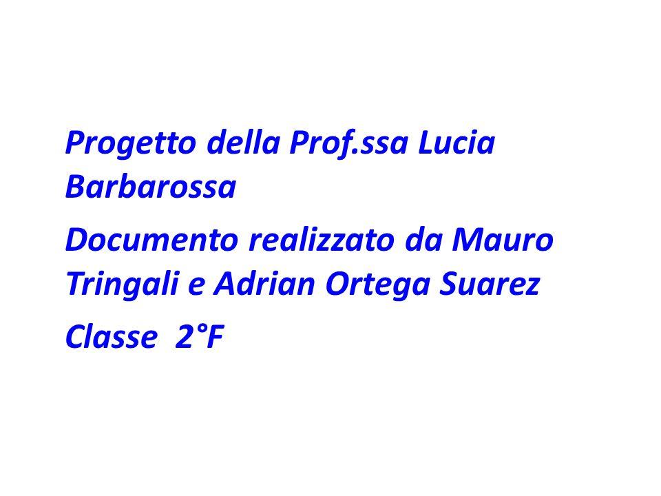 Progetto della Prof.ssa Lucia Barbarossa Documento realizzato da Mauro Tringali e Adrian Ortega Suarez Classe 2°F