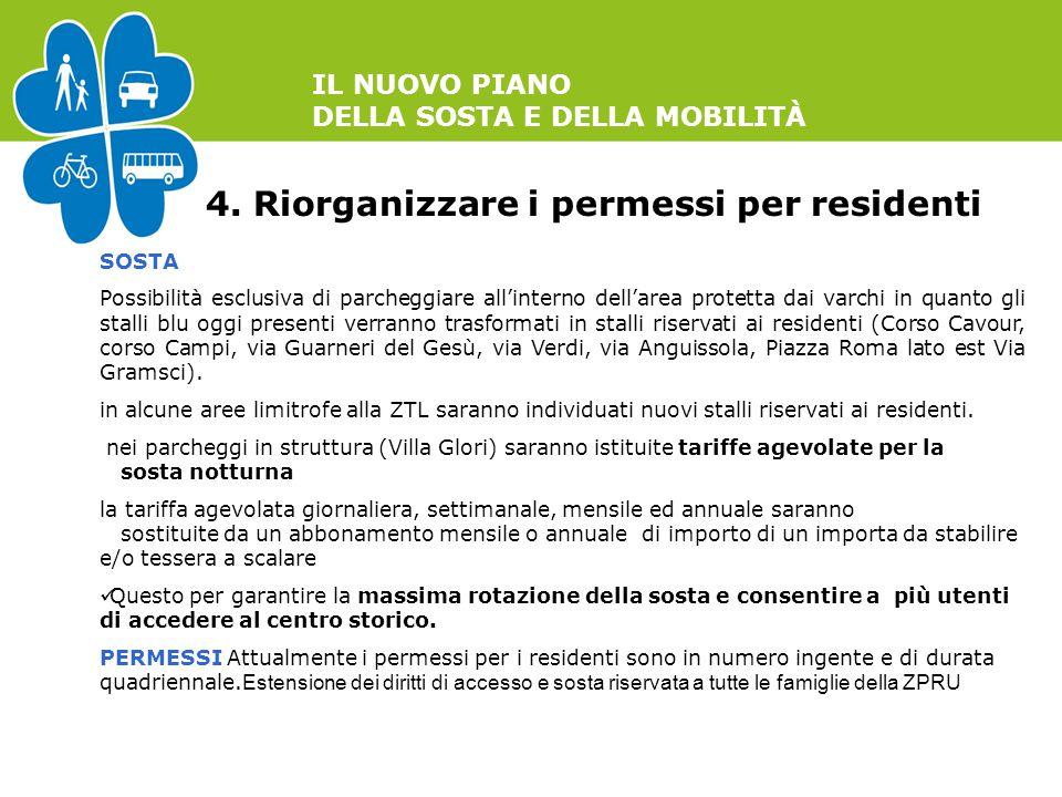 IL NUOVO PIANO DELLA SOSTA E DELLA MOBILITÀ 4. Riorganizzare i permessi per residenti SOSTA Possibilità esclusiva di parcheggiare all'interno dell'are