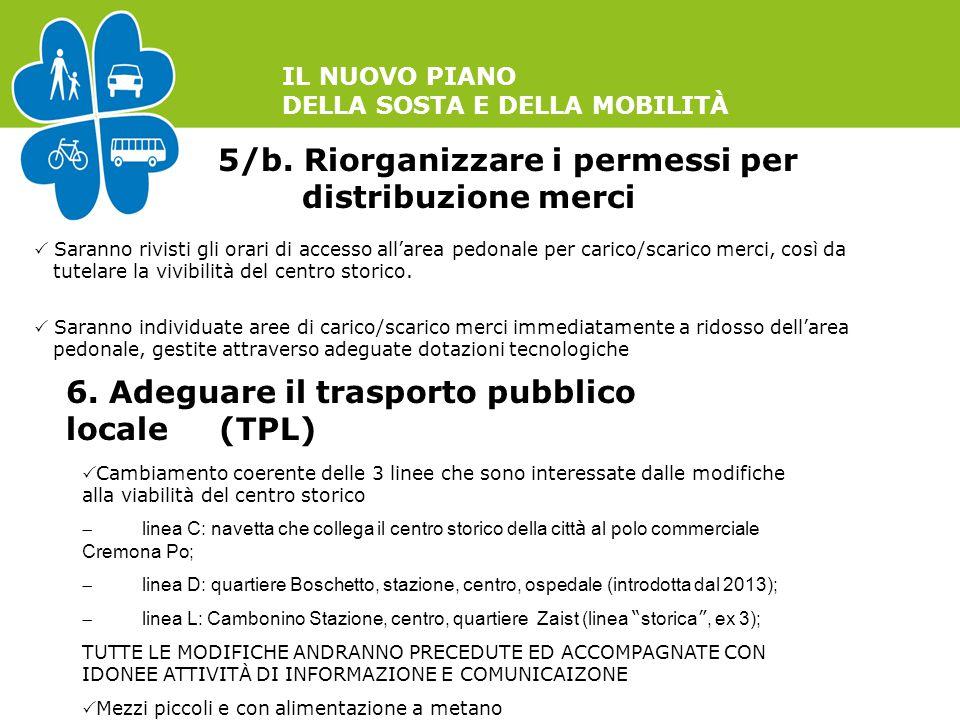 IL NUOVO PIANO DELLA SOSTA E DELLA MOBILITÀ 5/b. Riorganizzare i permessi per distribuzione merci  Saranno rivisti gli orari di accesso all'area pedo