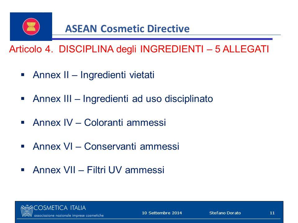 ASEAN Cosmetic Directive Articolo 4.