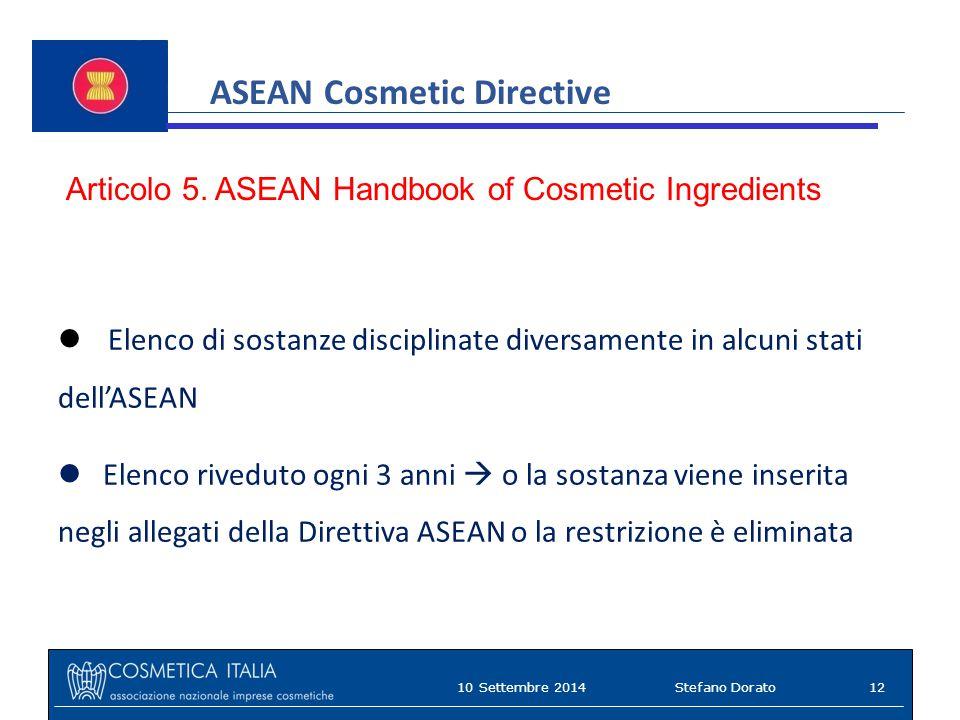 ASEAN Cosmetic Directive Articolo 5.