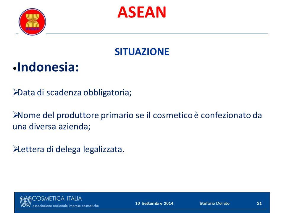 ASEAN SITUAZIONE Indonesia:  Data di scadenza obbligatoria;  Nome del produttore primario se il cosmetico è confezionato da una diversa azienda;  Lettera di delega legalizzata.