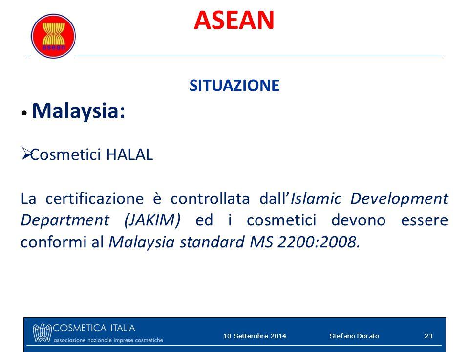 ASEAN SITUAZIONE Malaysia:  Cosmetici HALAL La certificazione è controllata dall'Islamic Development Department (JAKIM) ed i cosmetici devono essere conformi al Malaysia standard MS 2200:2008.