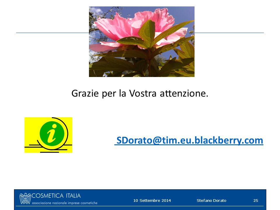 10 Settembre 2014Stefano Dorato25 Grazie per la Vostra attenzione. SDorato@tim.eu.blackberry.com
