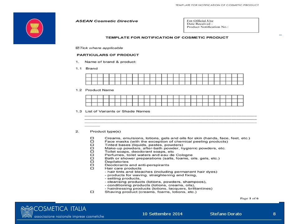 ASEAN Cosmetic Directive 10 Settembre 20148Stefano Dorato