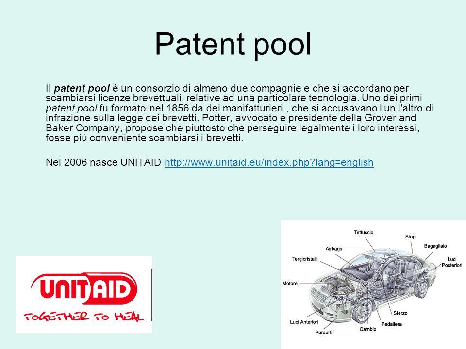 Patent pool Il patent pool è un consorzio di almeno due compagnie e che si accordano per scambiarsi licenze brevettuali, relative ad una particolare tecnologia.