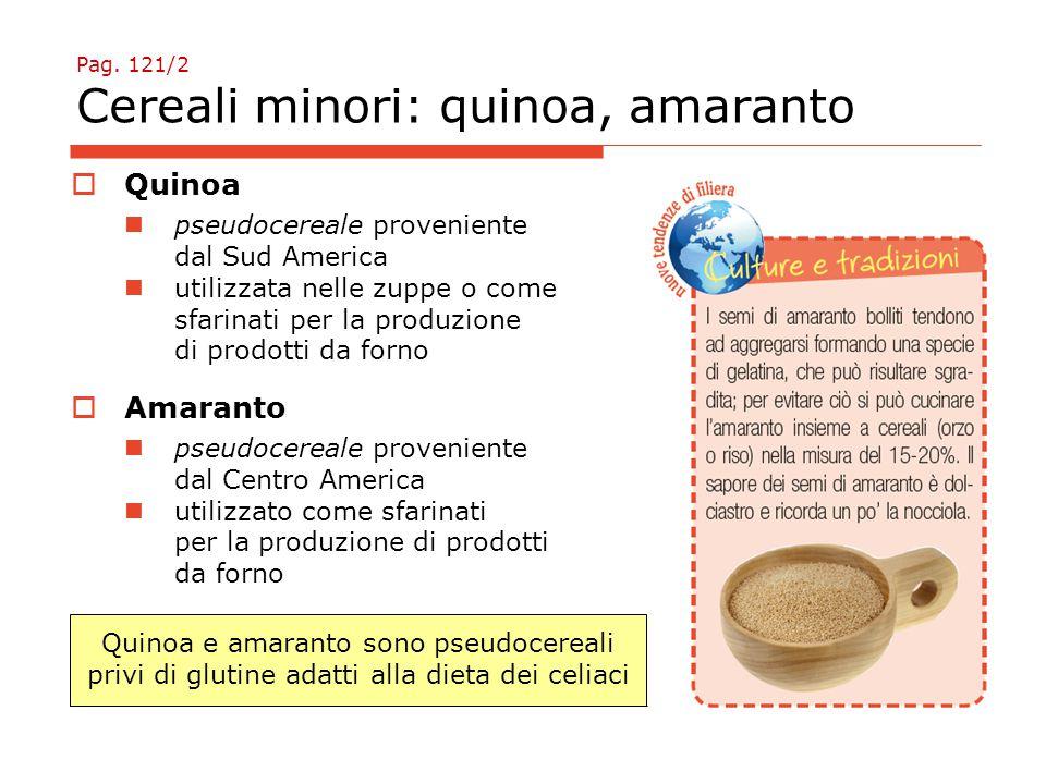 Pag. 121/2 Cereali minori: quinoa, amaranto  Quinoa pseudocereale proveniente dal Sud America utilizzata nelle zuppe o come sfarinati per la produzio