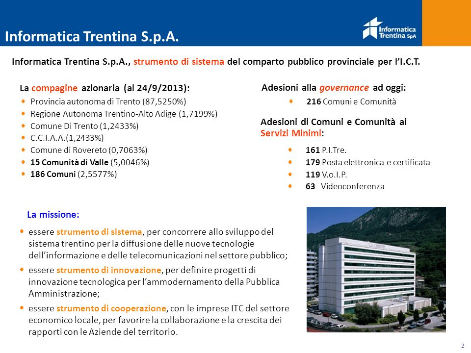 2 Provincia autonoma di Trento (87,5250%) Regione Autonoma Trentino-Alto Adige (1,7199%) Comune Di Trento (1,2433%) C.C.I.A.A.(1,2433%) Comune di Rovereto (0,7063%) 15 Comunità di Valle (5,0046%) 186 Comuni (2,5577%) La missione: essere strumento di sistema, per concorrere allo sviluppo del sistema trentino per la diffusione delle nuove tecnologie dell'informazione e delle telecomunicazioni nel settore pubblico; essere strumento di innovazione, per definire progetti di innovazione tecnologica per l'ammodernamento della Pubblica Amministrazione; essere strumento di cooperazione, con le imprese ITC del settore economico locale, per favorire la collaborazione e la crescita dei rapporti con le Aziende del territorio.