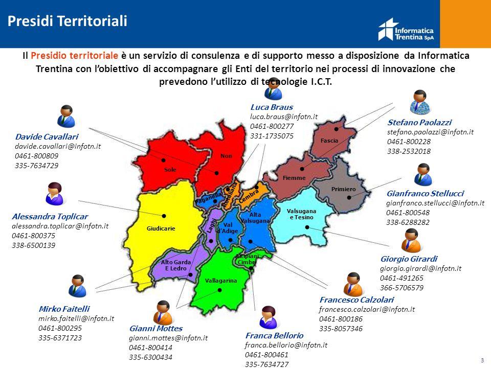 3 Presidi Territoriali Il Presidio territoriale è un servizio di consulenza e di supporto messo a disposizione da Informatica Trentina con l'obiettivo di accompagnare gli Enti del territorio nei processi di innovazione che prevedono l'utilizzo di tecnologie I.C.T.