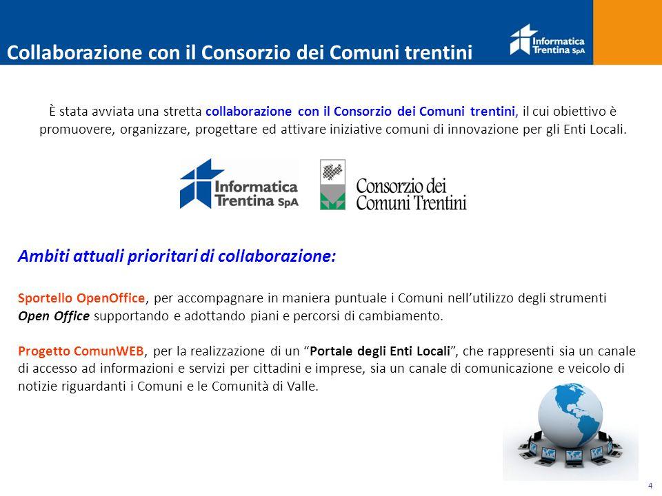 4 Collaborazione con il Consorzio dei Comuni trentini È stata avviata una stretta collaborazione con il Consorzio dei Comuni trentini, il cui obiettivo è promuovere, organizzare, progettare ed attivare iniziative comuni di innovazione per gli Enti Locali.
