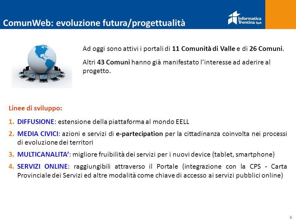 6 Linee di sviluppo: 1.DIFFUSIONE: estensione della piattaforma al mondo EELL 2.MEDIA CIVICI: azioni e servizi di e-partecipation per la cittadinanza coinvolta nei processi di evoluzione dei territori 3.MULTICANALITA': migliore fruibilità dei servizi per i nuovi device (tablet, smartphone) 4.SERVIZI ONLINE: raggiungibili attraverso il Portale (integrazione con la CPS - Carta Provinciale dei Servizi ed altre modalità come chiave di accesso ai servizi pubblici online) ComunWeb: evoluzione futura/progettualità Ad oggi sono attivi i portali di 11 Comunità di Valle e di 26 Comuni.