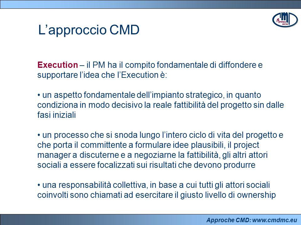 Approche CMD: www.cmdmc.eu L'approccio CMD Execution – il PM ha il compito fondamentale di diffondere e supportare l'idea che l'Execution è: un aspett