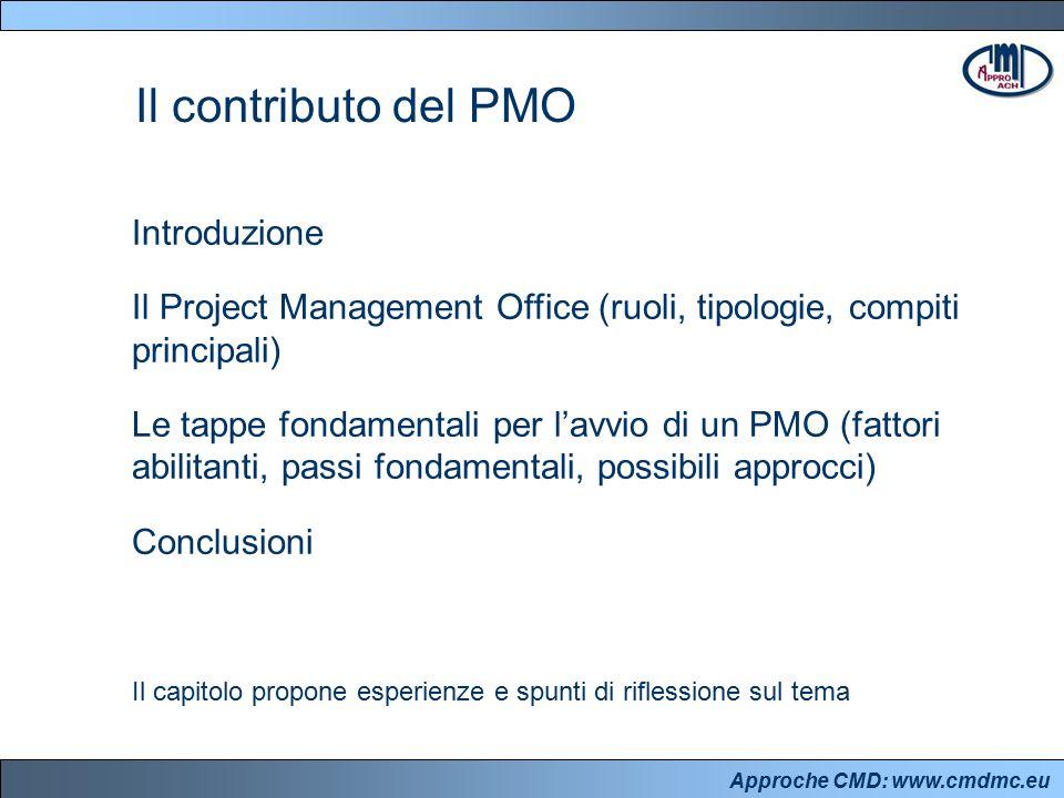 Approche CMD: www.cmdmc.eu Introduzione Il Project Management Office (ruoli, tipologie, compiti principali) Le tappe fondamentali per l'avvio di un PMO (fattori abilitanti, passi fondamentali, possibili approcci) Conclusioni Il contributo del PMO Il capitolo propone esperienze e spunti di riflessione sul tema