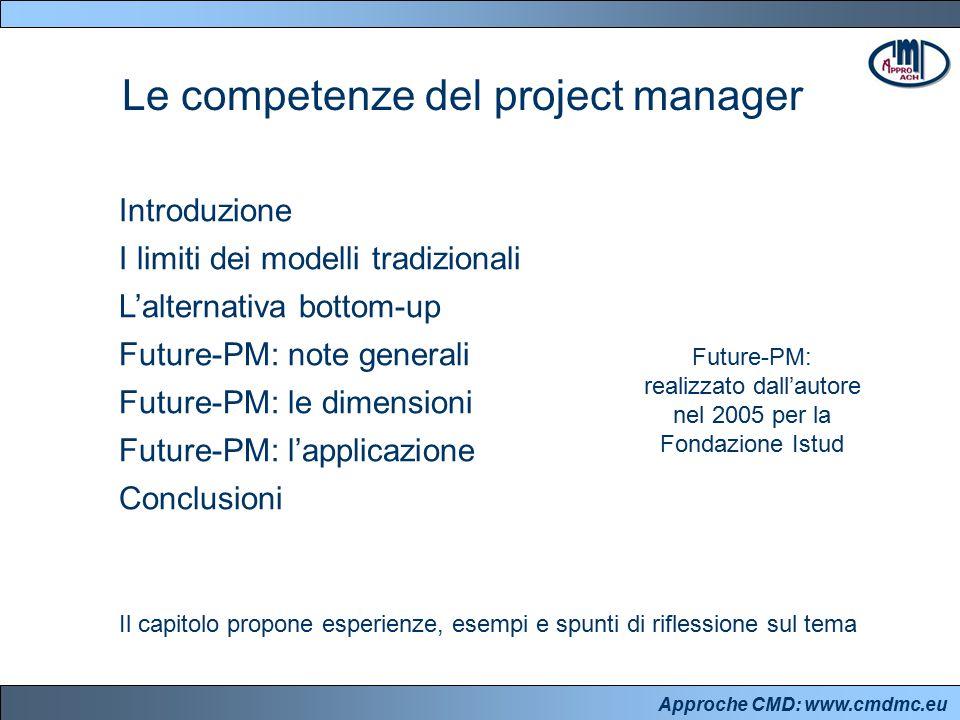 Approche CMD: www.cmdmc.eu Introduzione I limiti dei modelli tradizionali L'alternativa bottom-up Future-PM: note generali Future-PM: le dimensioni Fu