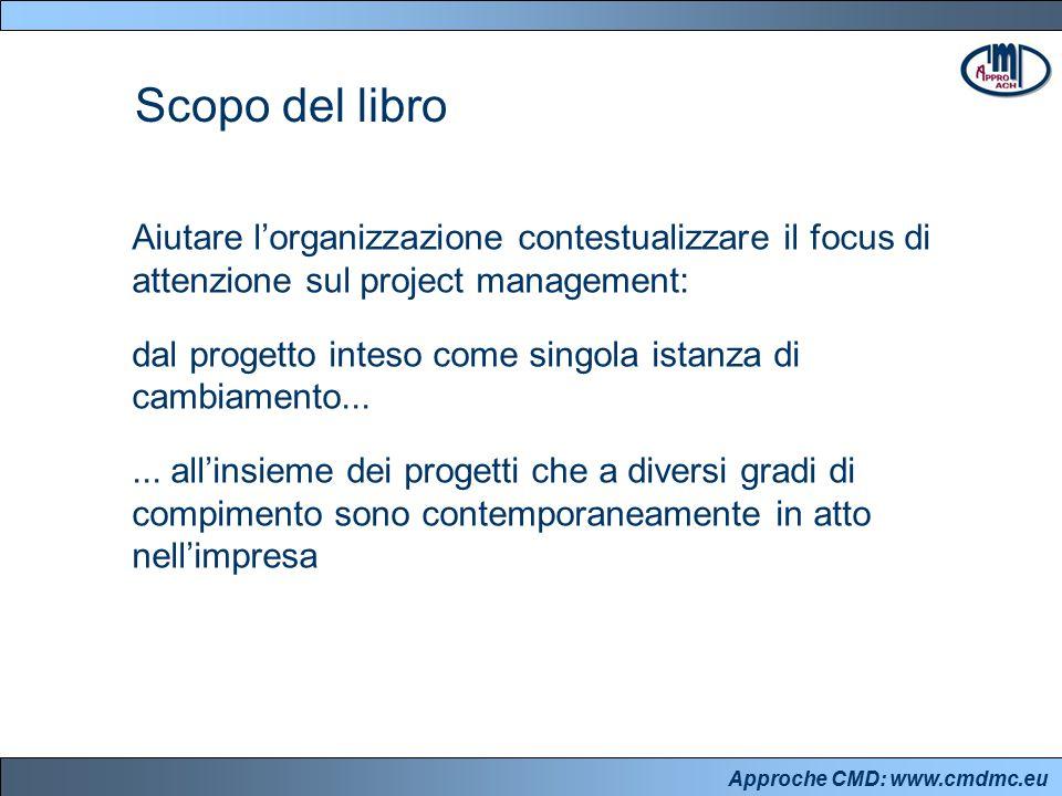 Approche CMD: www.cmdmc.eu Aiutare l'organizzazione contestualizzare il focus di attenzione sul project management: dal progetto inteso come singola istanza di cambiamento......