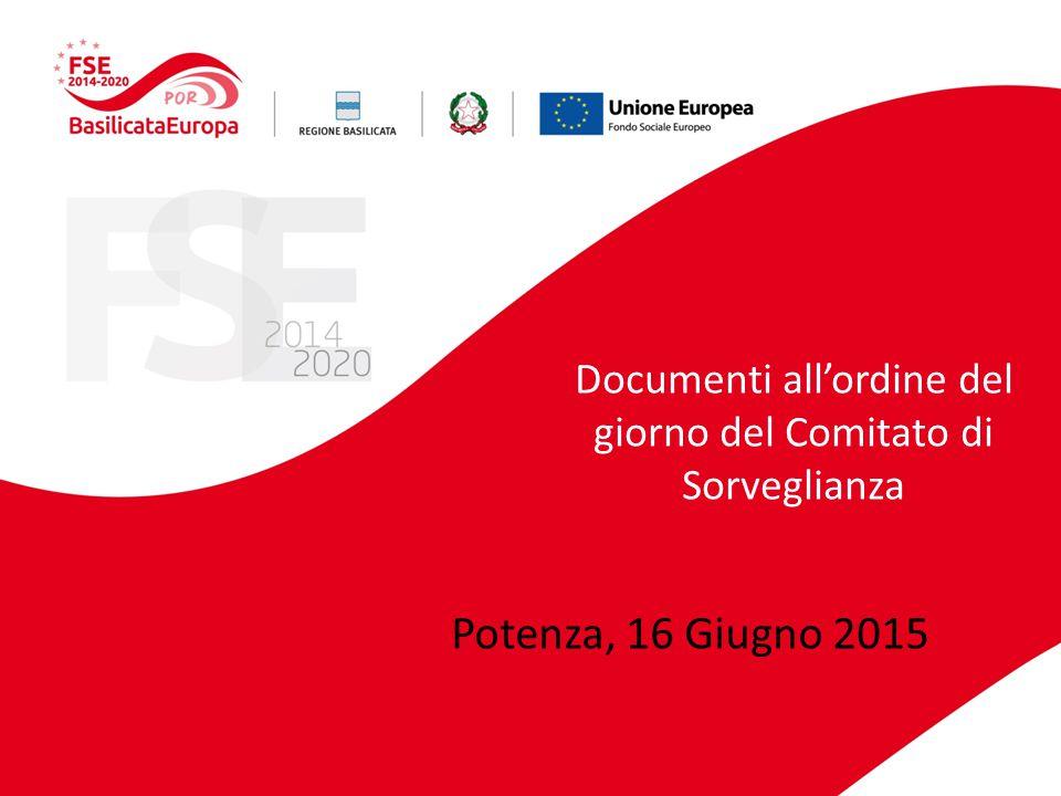 Documenti all'ordine del giorno del Comitato di Sorveglianza Potenza, 16 Giugno 2015
