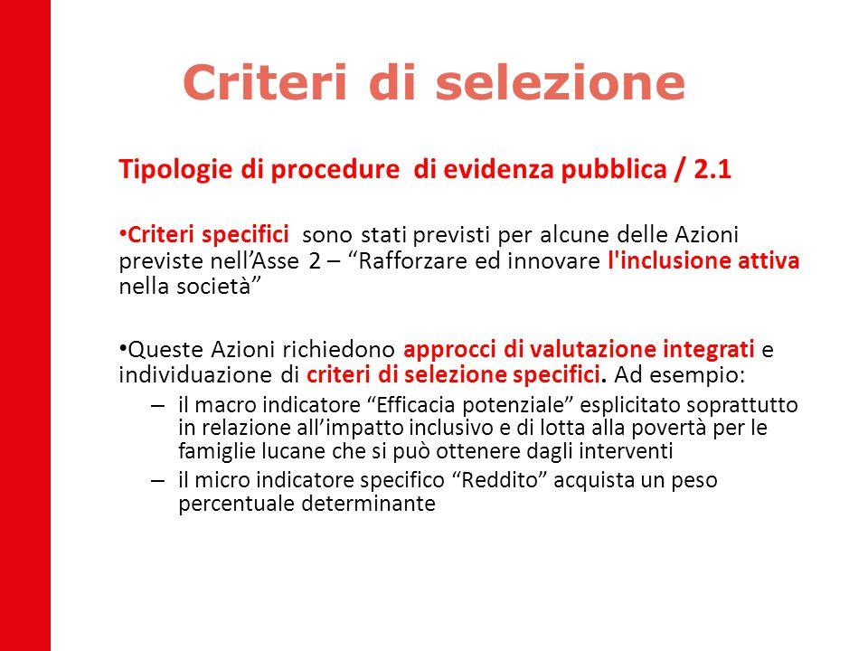Criteri di selezione Tipologie di procedure di evidenza pubblica / 2.1 Criteri specifici sono stati previsti per alcune delle Azioni previste nell'Ass