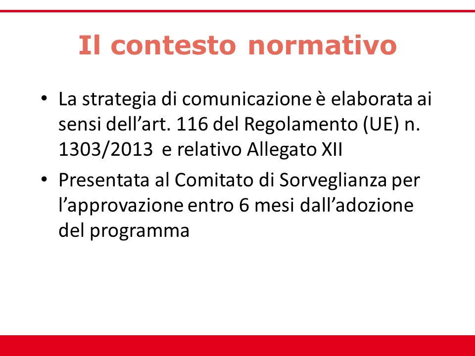 Il contesto normativo La strategia di comunicazione è elaborata ai sensi dell'art. 116 del Regolamento (UE) n. 1303/2013 e relativo Allegato XII Prese