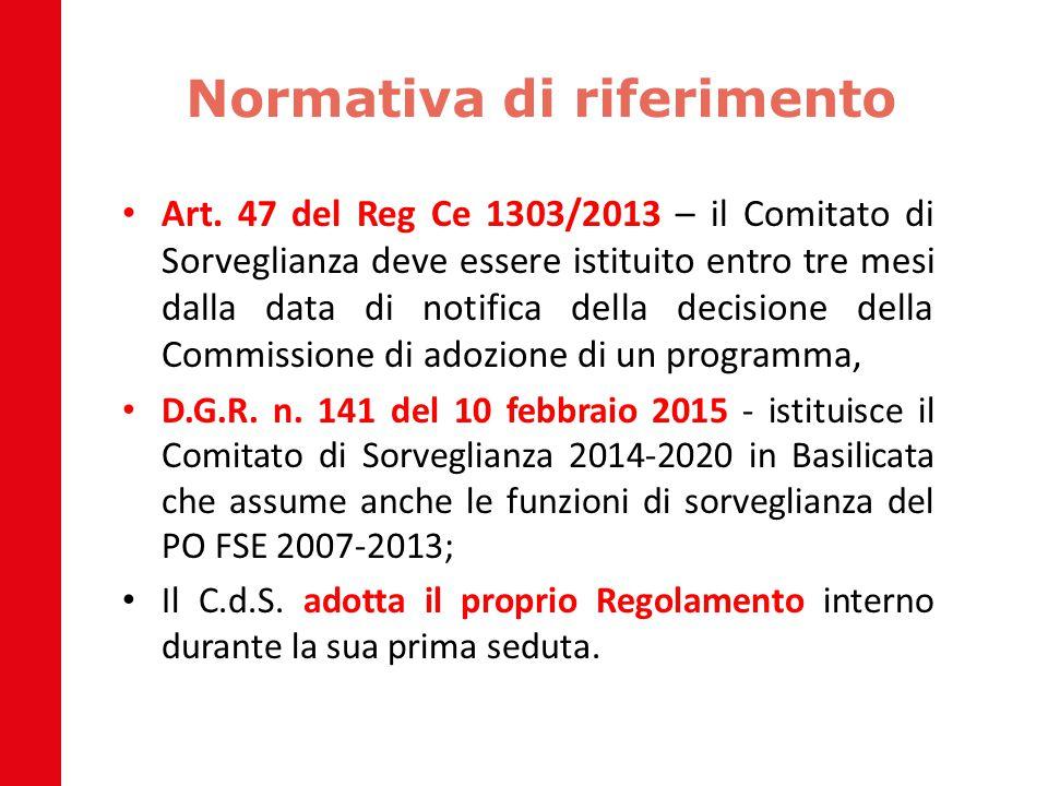 Normativa di riferimento Art. 47 del Reg Ce 1303/2013 – il Comitato di Sorveglianza deve essere istituito entro tre mesi dalla data di notifica della
