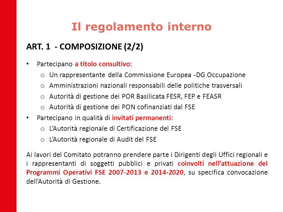 Il regolamento interno ART. 1 - COMPOSIZIONE (2/2) Partecipano a titolo consultivo: o Un rappresentante della Commissione Europea -DG Occupazione o Am