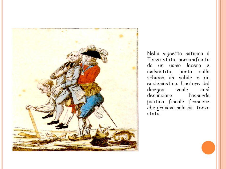 Nella vignetta satirica il Terzo stato, personificato da un uomo lacero e malvestito, porta sulla schiena un nobile e un ecclesiastico. L'autore del d