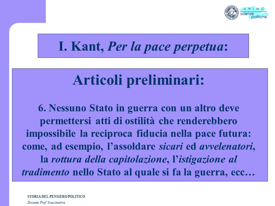 STORIA DEL PENSIERO POLITICO Docente Prof. Scuccimarra STORIA COSTITUZIONALE I.