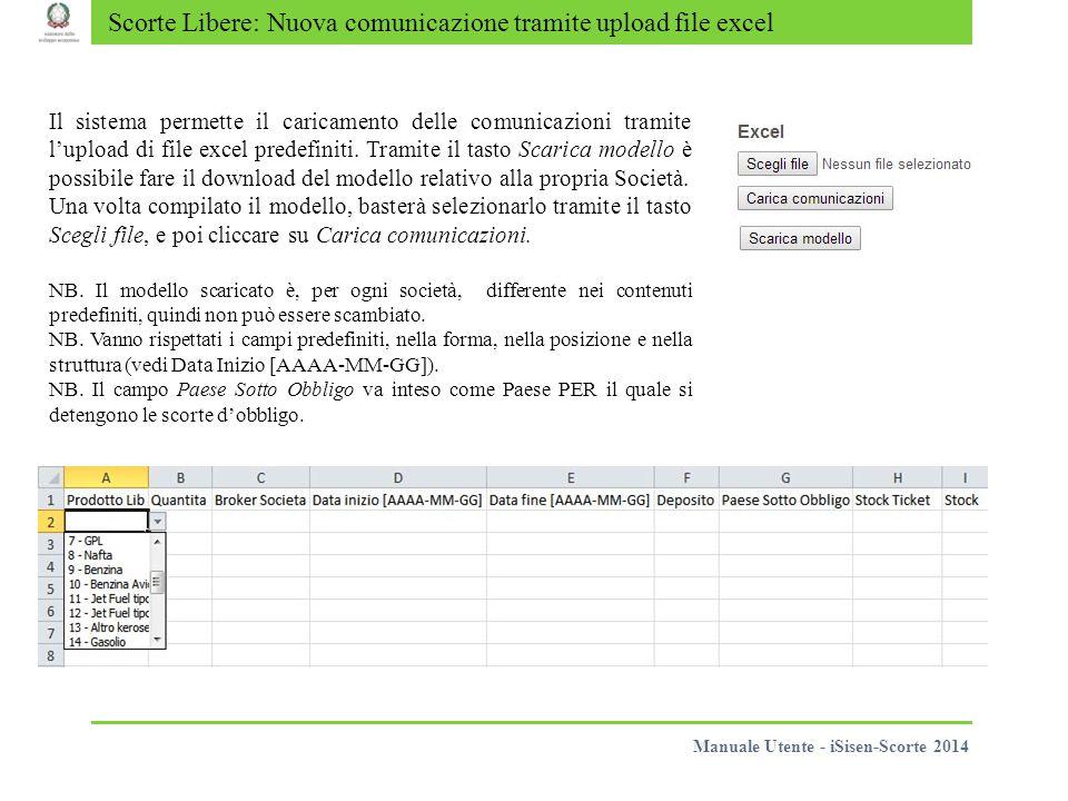 Scorte Libere: Nuova comunicazione tramite upload file excel Il sistema permette il caricamento delle comunicazioni tramite l'upload di file excel pre