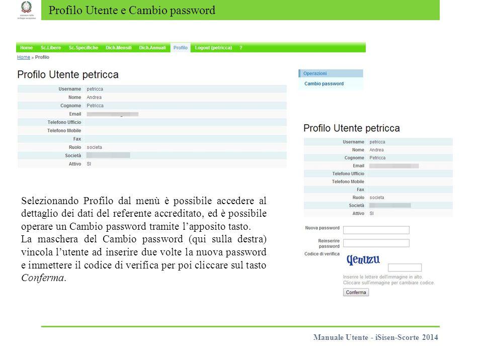 Profilo Utente e Cambio password Selezionando Profilo dal menù è possibile accedere al dettaglio dei dati del referente accreditato, ed è possibile operare un Cambio password tramite l'apposito tasto.