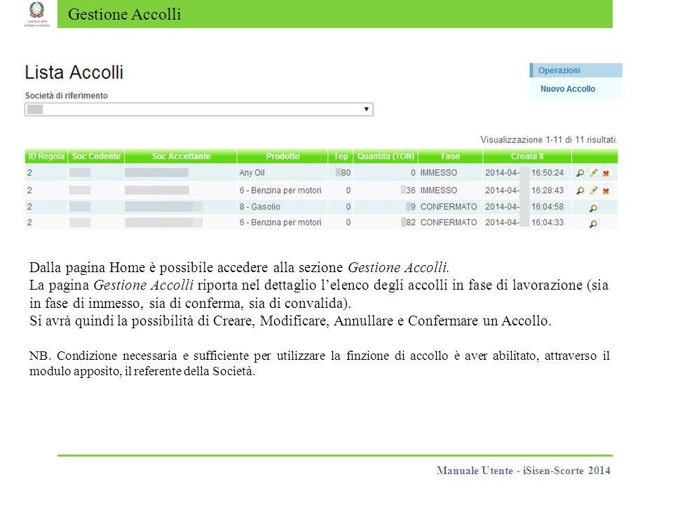 Gestione Accolli Dalla pagina Home è possibile accedere alla sezione Gestione Accolli. La pagina Gestione Accolli riporta nel dettaglio l'elenco degli