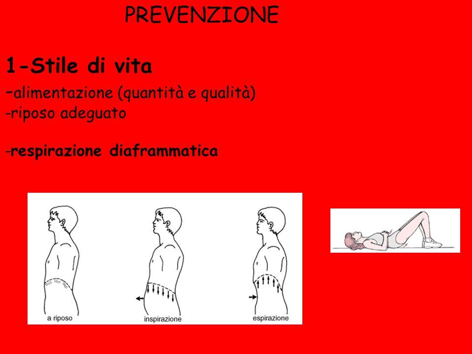 PREVENZIONE 1-Stile di vita - alimentazione (quantità e qualità) -riposo adeguato -respirazione diaframmatica