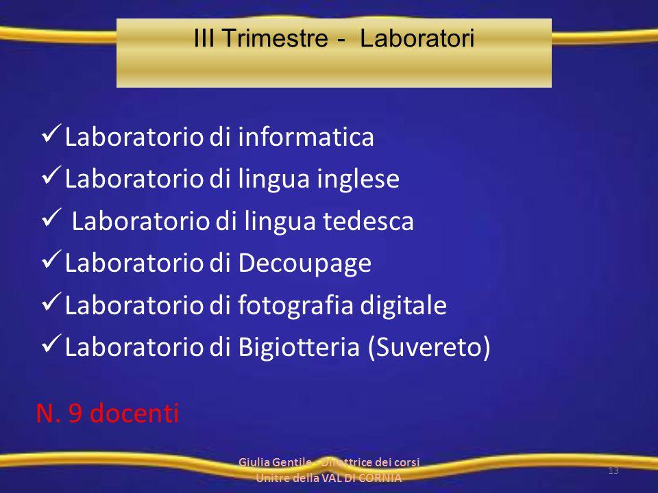Laboratorio di informatica Laboratorio di lingua inglese Laboratorio di lingua tedesca Laboratorio di Decoupage Laboratorio di fotografia digitale Lab