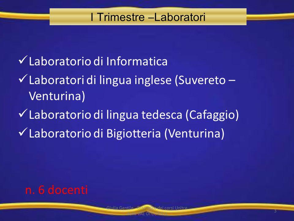 I Trimestre –Laboratori Laboratorio di Informatica Laboratori di lingua inglese (Suvereto – Venturina) Laboratorio di lingua tedesca (Cafaggio) Labora