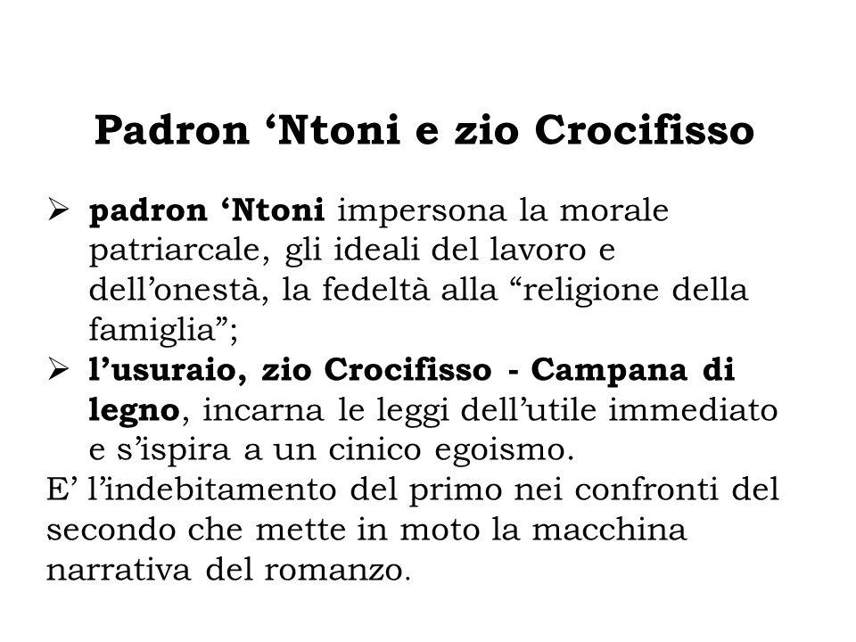"""Padron 'Ntoni e zio Crocifisso  padron 'Ntoni impersona la morale patriarcale, gli ideali del lavoro e dell'onestà, la fedeltà alla """"religione della"""