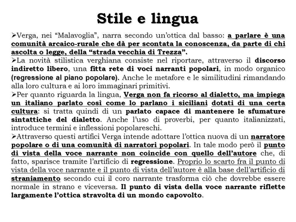 """Stile e lingua  Verga, nei """"Malavoglia"""", narra secondo un'ottica dal basso: a parlare è una comunità arcaico-rurale che dà per scontata la conoscenza"""