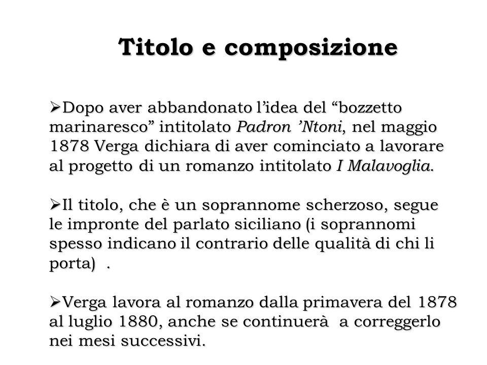 """Titolo e composizione  Dopo aver abbandonato l'idea del """"bozzetto marinaresco"""" intitolato Padron 'Ntoni, nel maggio 1878 Verga dichiara di aver comin"""