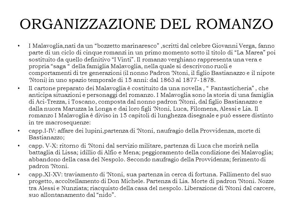 """ORGANIZZAZIONE DEL ROMANZO I Malavoglia,nati da un """"bozzetto marinaresco"""",scritti dal celebre Giovanni Verga, fanno parte di un ciclo di cinque romanz"""