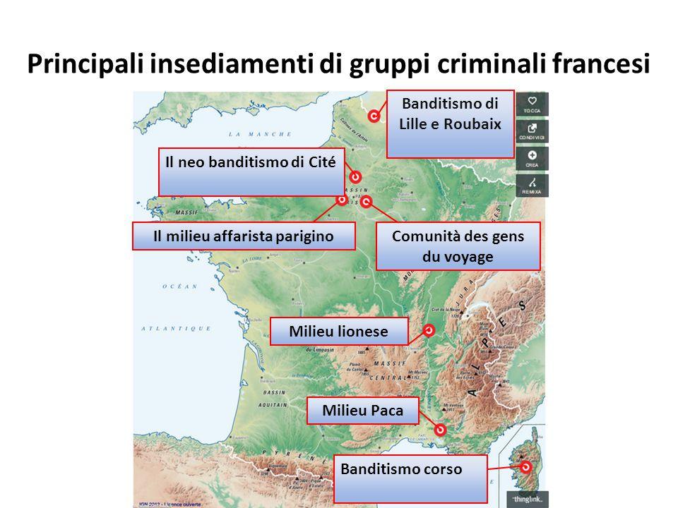 Principali insediamenti di gruppi criminali francesi Banditismo di Lille e Roubaix Il neo banditismo di Cité Il milieu affarista pariginoComunità des