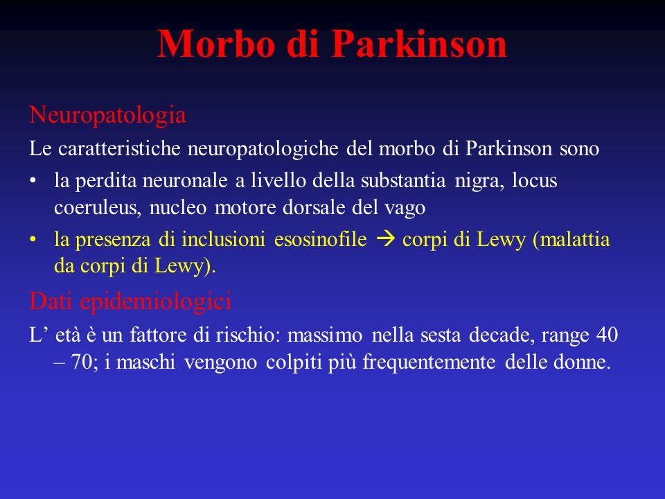 Neuropatologia Le caratteristiche neuropatologiche del morbo di Parkinson sono la perdita neuronale a livello della substantia nigra, locus coeruleus, nucleo motore dorsale del vago la presenza di inclusioni esosinofile  corpi di Lewy (malattia da corpi di Lewy).